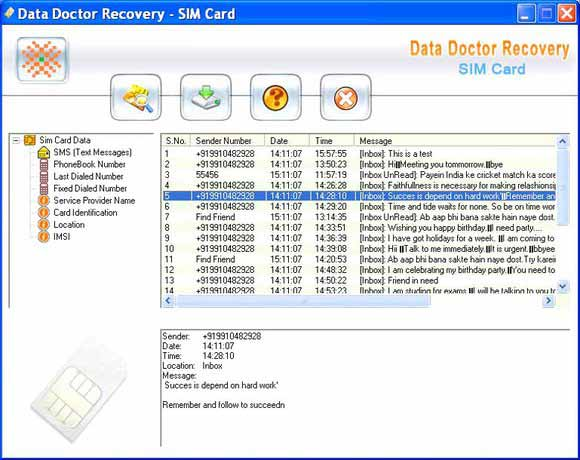 Mobile Simcard Recovery Software screen shot