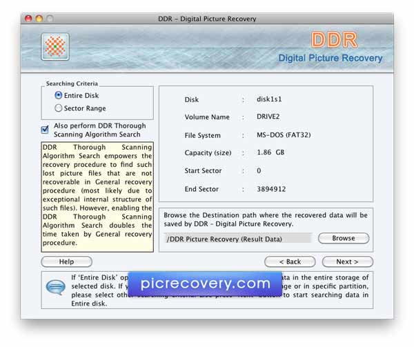 Screenshot of Mac Pictures Recovery Software