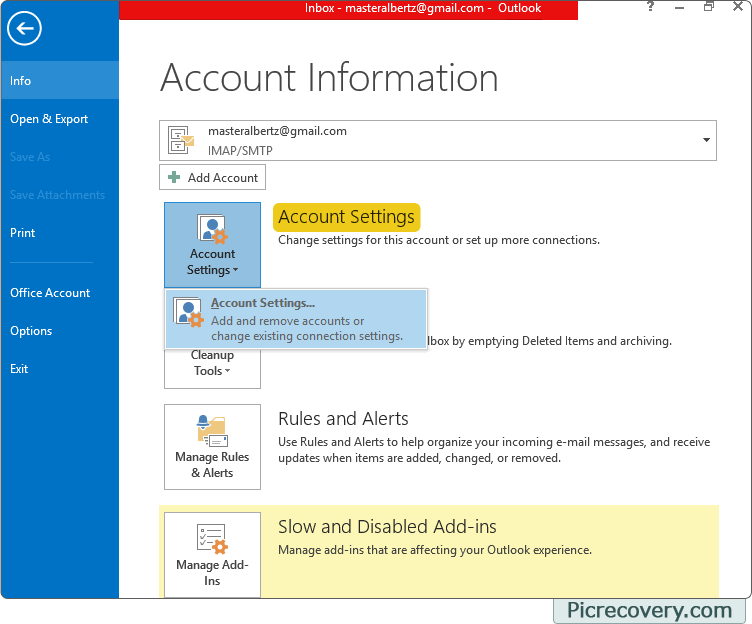 how to find password for outlook email account